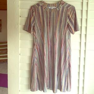 Colorful Capped Sleeve Tent Dress